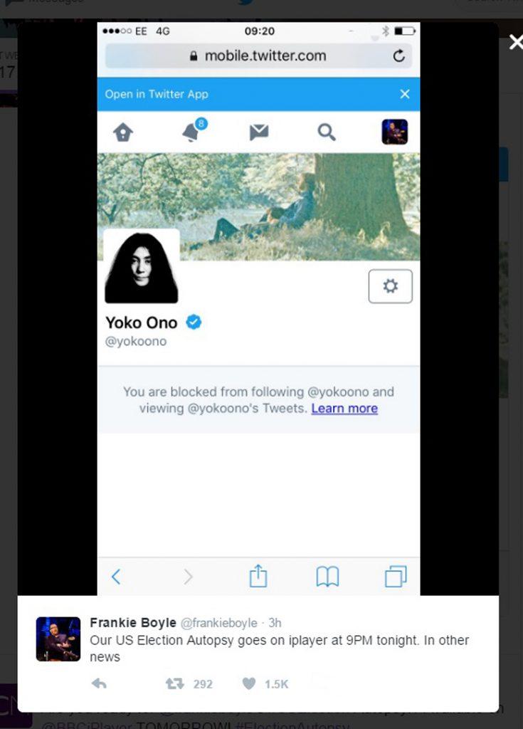 John Lennon's widow, Yoko Ono, blocked Scottish funnyman Boyle on Twitter.