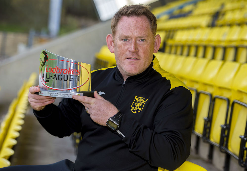 Hopkin receives the Ladbrokes League One Manager of the Month award for November (Pic: SNS)