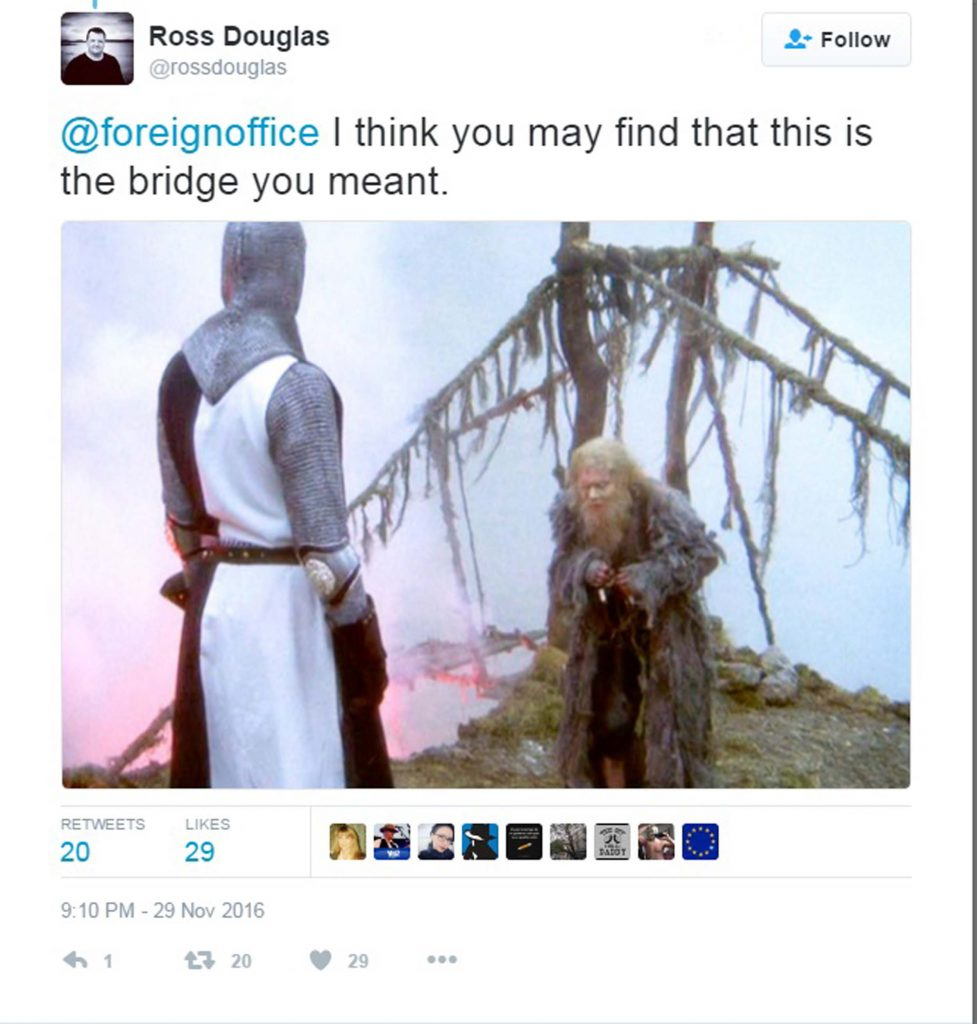 """THE Foreign Office has been ridiculed for tweeting a photo of the wrong bridge in a post about the Queensferry Crossing. Blundering bureaucrats posted a picture of the 126-year-old Forth Bridge rather than the almost-complete, state-of-the-art, £1.35bn road bridge. The Foreign Office official Twitter account stated: """"Opening in 2017, the 2.7 km Queensferry Crossing will be the longest 3 tower cable-stayed bridge in the world #DesignisGREAT #GlobalBritain"""" Accompanying the tweet was an image of the iconic, red-painted Forth Bridge, taken before work had even started on the Queensferry Crossing. Jokers started tweeting pictures of other world-famous bridges, claiming it was the Queensferry Crossing."""