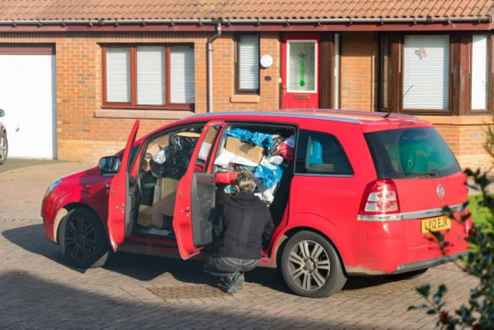 AN astonishing picture shows a delivery driver with so many parcels crammed into their car it is impossible to see out of the front passenger window.  The Vauxhall Zafira, used by a driver for courier firm Hermes, has almost every spare inch crammed with items, leaving space only for the driver. A road safety group said today (Thu) the image had easily gone straight in to their top three most stupidly-loaded cars of all time. Hermes said it was investigating the case, which will increase concern that under-pressure delivery drivers are putting public safety at risk as Christmas approaches. The picture was taken on November 3 in a street in Loanhead, Midlothian.