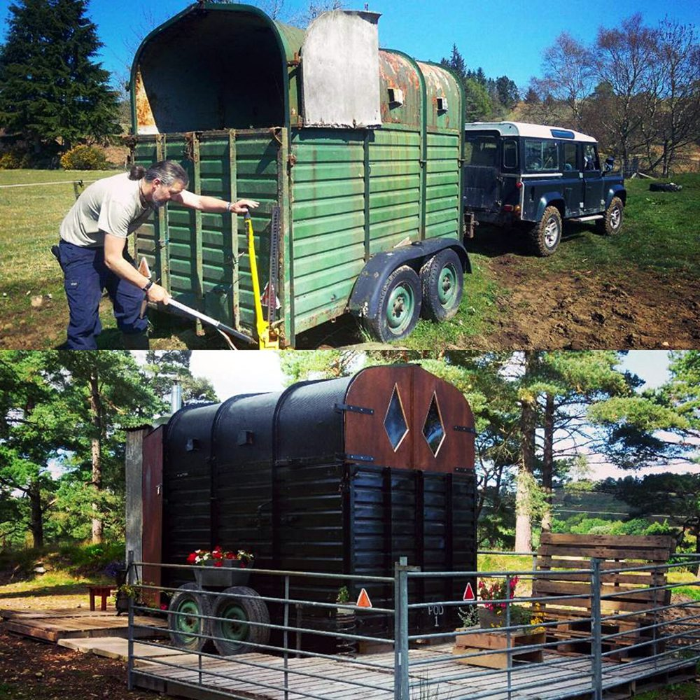 "THE UK'S first ""glamping horsebox"" is for rent on Airbnb for just £30 a night. Constructed using a vintage horsebox, wooden pallets and corrugated iron, the the  home-from-home boasts its own ""composting toilet"" comeplete with ""full instructions"". The ""Prancing Pony Wild Glamping Pod"", in Bonar Bridge, an hour north of Inverness, also has a built in shower and kitchen sink. Guests can also enjoy the ""garden"" - four acres of stunning Caledonian Pine forest - and little details such as the loo roll holder made from a horse's bit. Owner Stacie MacDonald says on the website ""you'll love it if you're more Girl Grylls than high heels"" and if you're a guy looking to be a ""Wild Man of the Woods"". Holidaymakers seeking the ""off grid"" retreat will have the full experience, according to the description, with drinking water in a portable tank and a shower that is heated using solar panels with a rain capture system. Capable of accommodating two people, with a fold out futon bed, the toilet is accessible from the outside and also through a ""tiny"" door for inside the trailer."