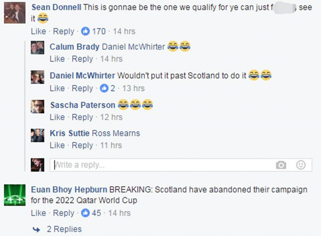 Fans took to social media to say there was no point in Scotland even trying to qualify for the 2022 competition.