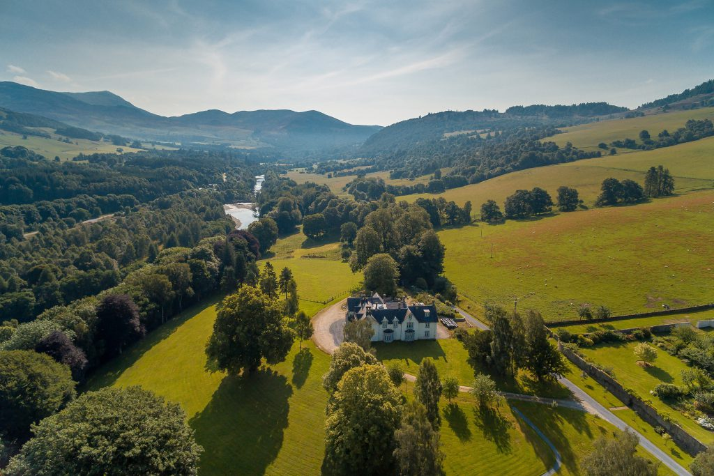 The property comes with salmon fishing rights on the Garry just 800 metres from the mansion as well as an all-weather tennis court, two huge homes and an equestrian paddock.