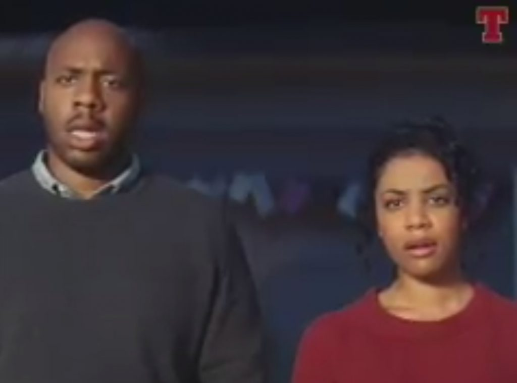 The parents reaction in the advert to the dog on the trampoline