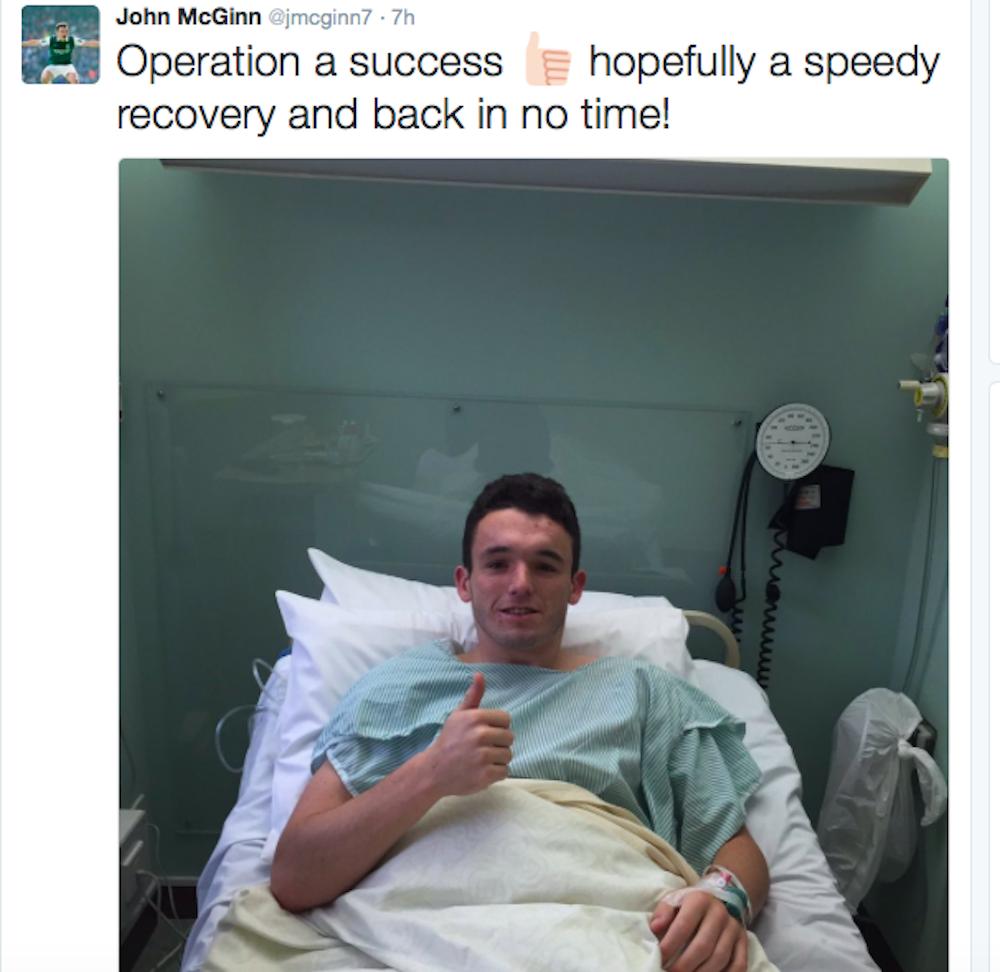 McGinn tweeted this update after his op