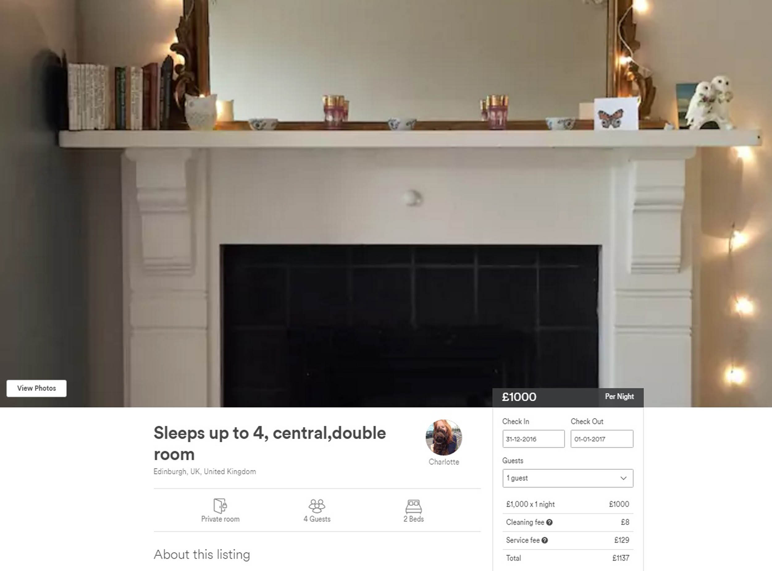 AN Edinburgh Airbnb room that sleeps four has hiked its price for Hogmanay