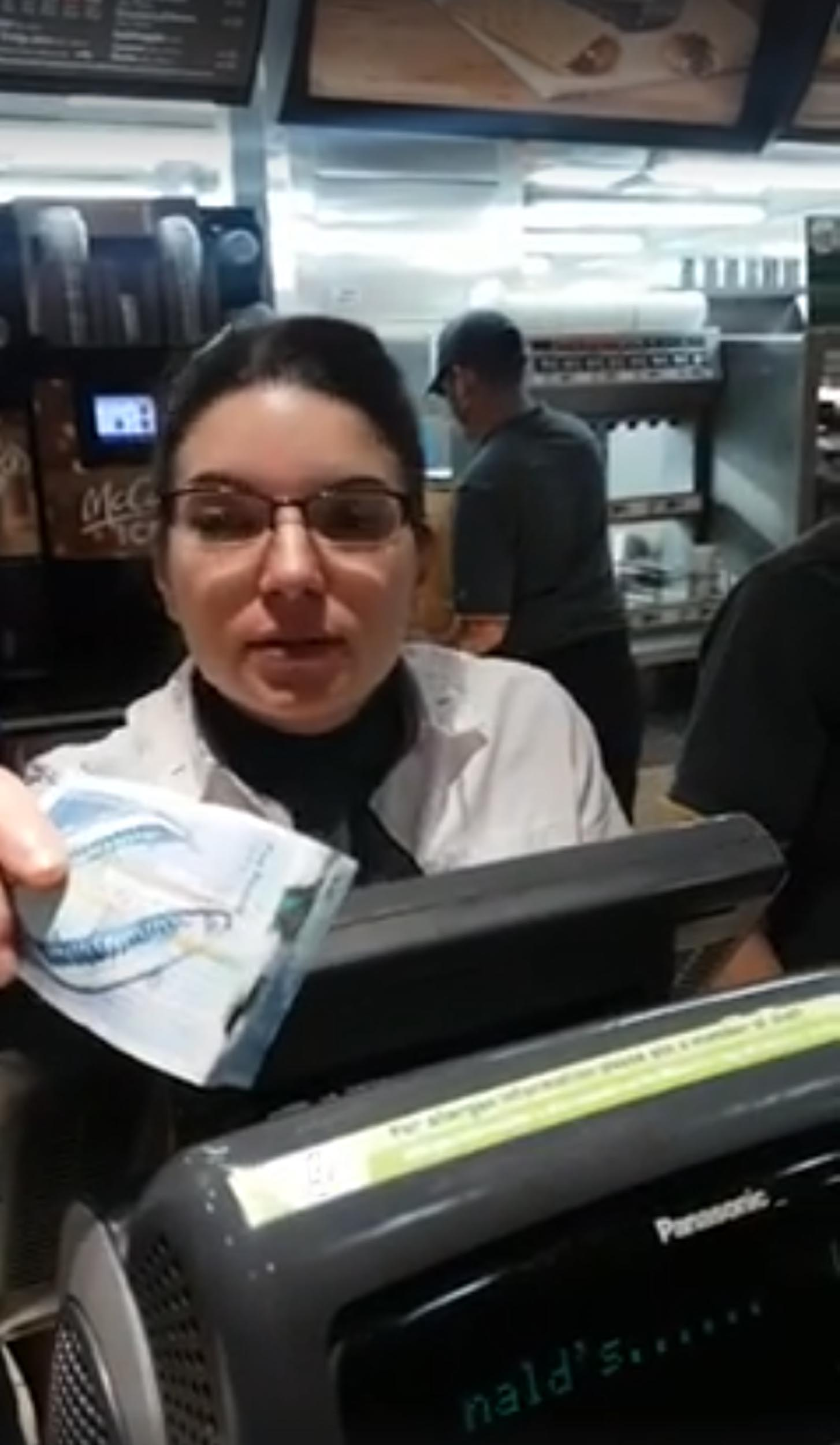 The woman behind the counter will not accept the note