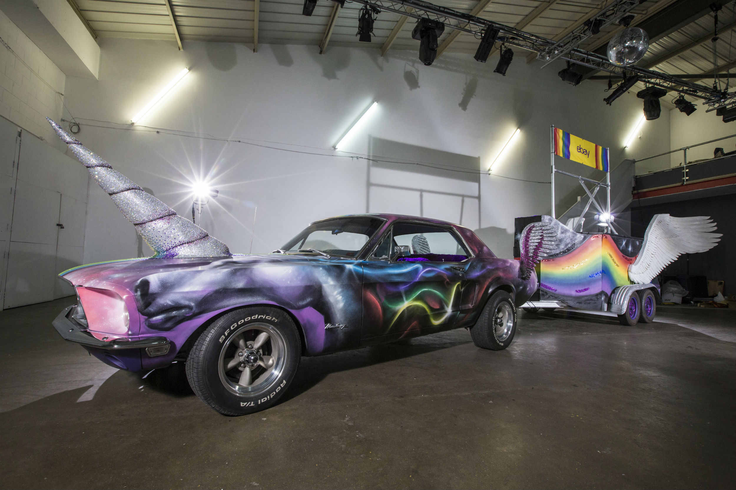 Classic Ford Mustang transformed into rainbow coloured unicorn up ...