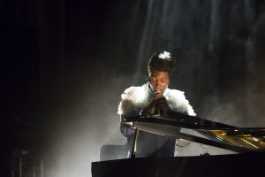 Benjamin Clementine on stage at the Edinburgh Festival Fringe 2017