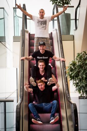 Comedians Jimeion, Craig Hill, Daniel Sloss, and Gareth Waugh, photographed at the EICC (c) Wullie Marr/DEADLINE NEWS