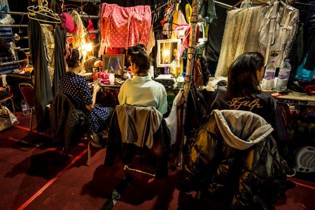 Backstage at the Lady boys of Bangkok show at the Edinburgh Fringe Festival © Wullie Marr/ DEADLINE NEWS