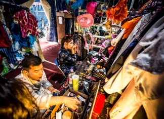 Behind the scenes in the dressing room of the Lady Boys of Bangkok ©Wullie Marr Photography