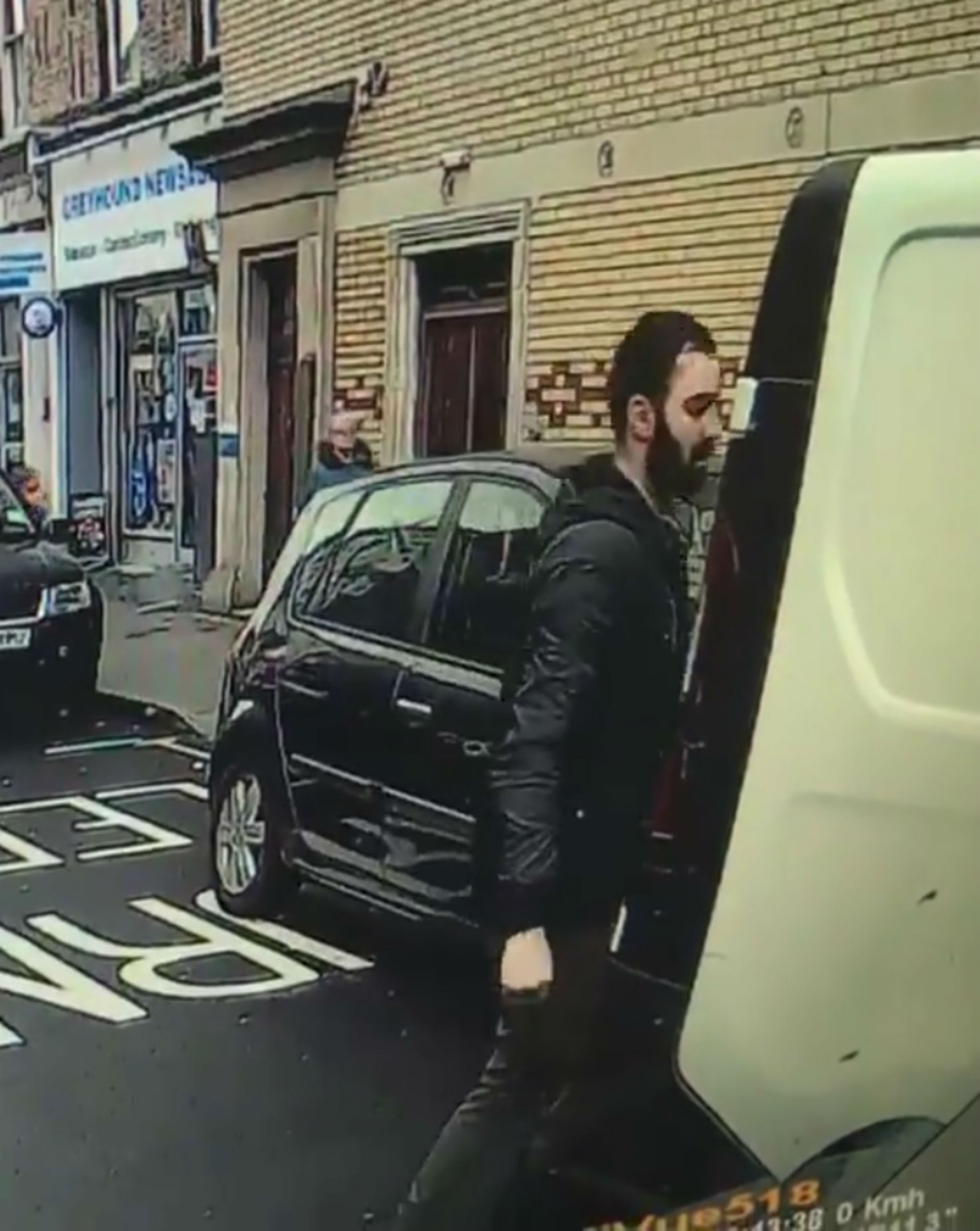 Moment White Van Man Headbutts His Own Vehicle After Hitting Parked