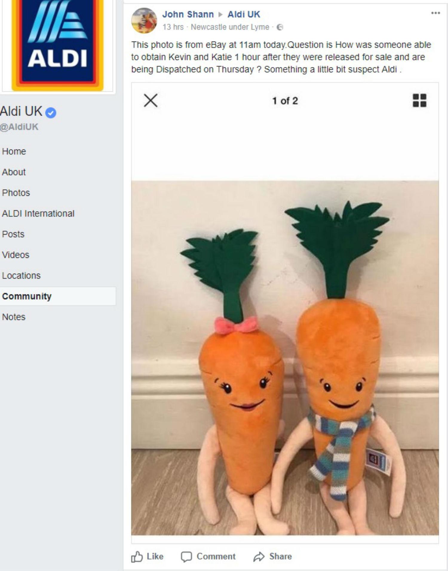 aldi under fire after kevin the carrot toy sold online for. Black Bedroom Furniture Sets. Home Design Ideas