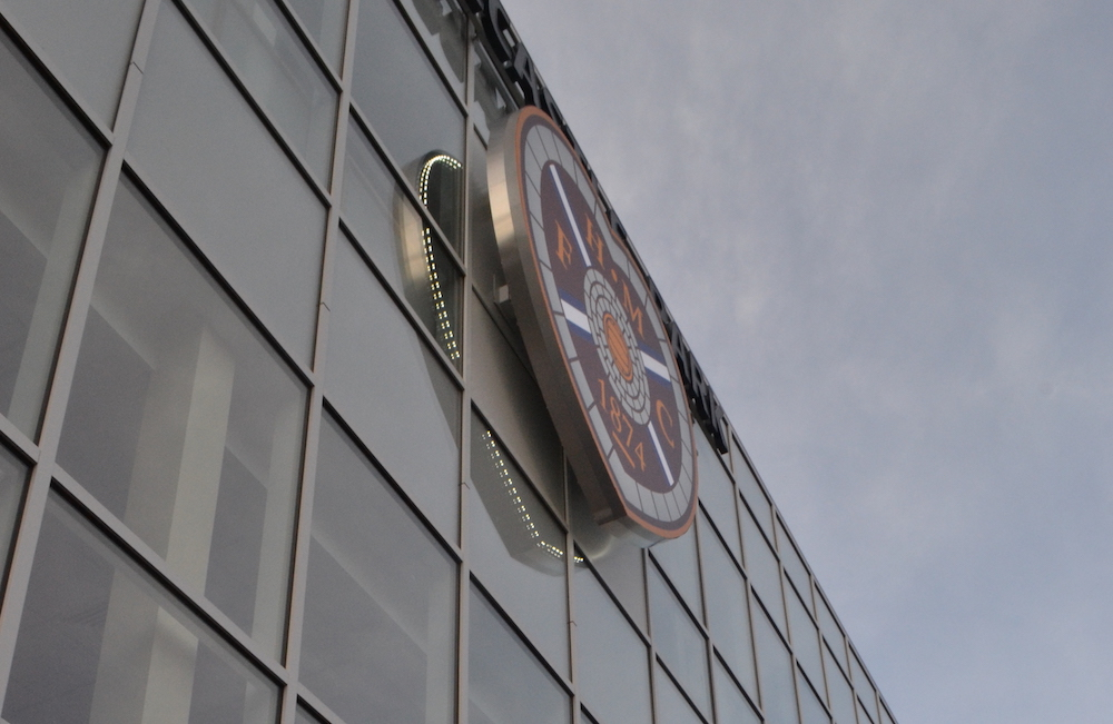 Hearts crest on the Tynecastle main stand | Hearts news