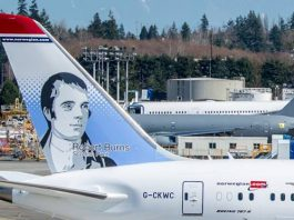 Burns Tail Fin art on Norwegian Air plane