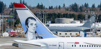 Burns Tail Fin art on Norwegian Air plane