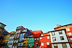 Multicoloured Houses in Porto, Portugal