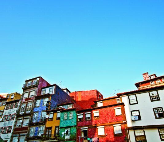 Multicoloured Houses in Porto, Portugal