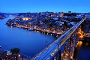 View of Porto, Portugal at night