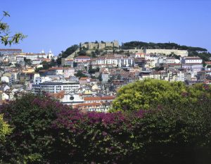View from Sao Pedro de Alcantra gardens in Lisbon , Portugal