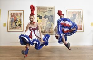 Can can dancer from Moulin Rouge launch Toulouse Lautrec exhibition in Edinburgh, Scotland, October 2018