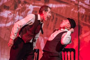 Two actors on Stage in The Last Days of Mankind at Leith Theatre, Review by Jean West.