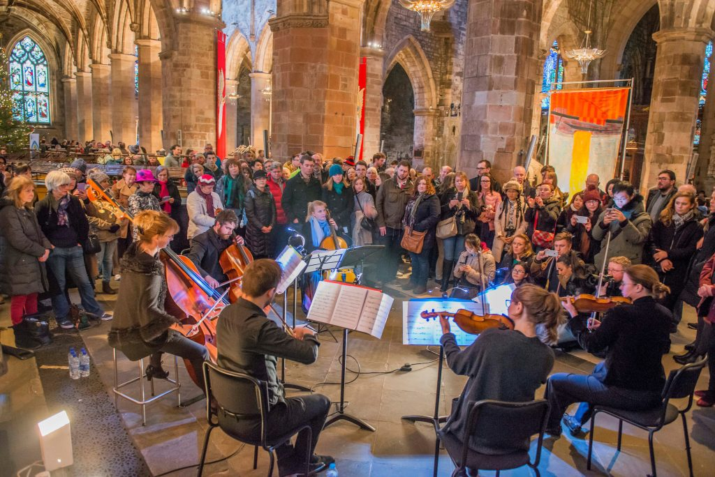 Musicians play at an event as part of Edinburgh's 2019 Burns & Beyond festival