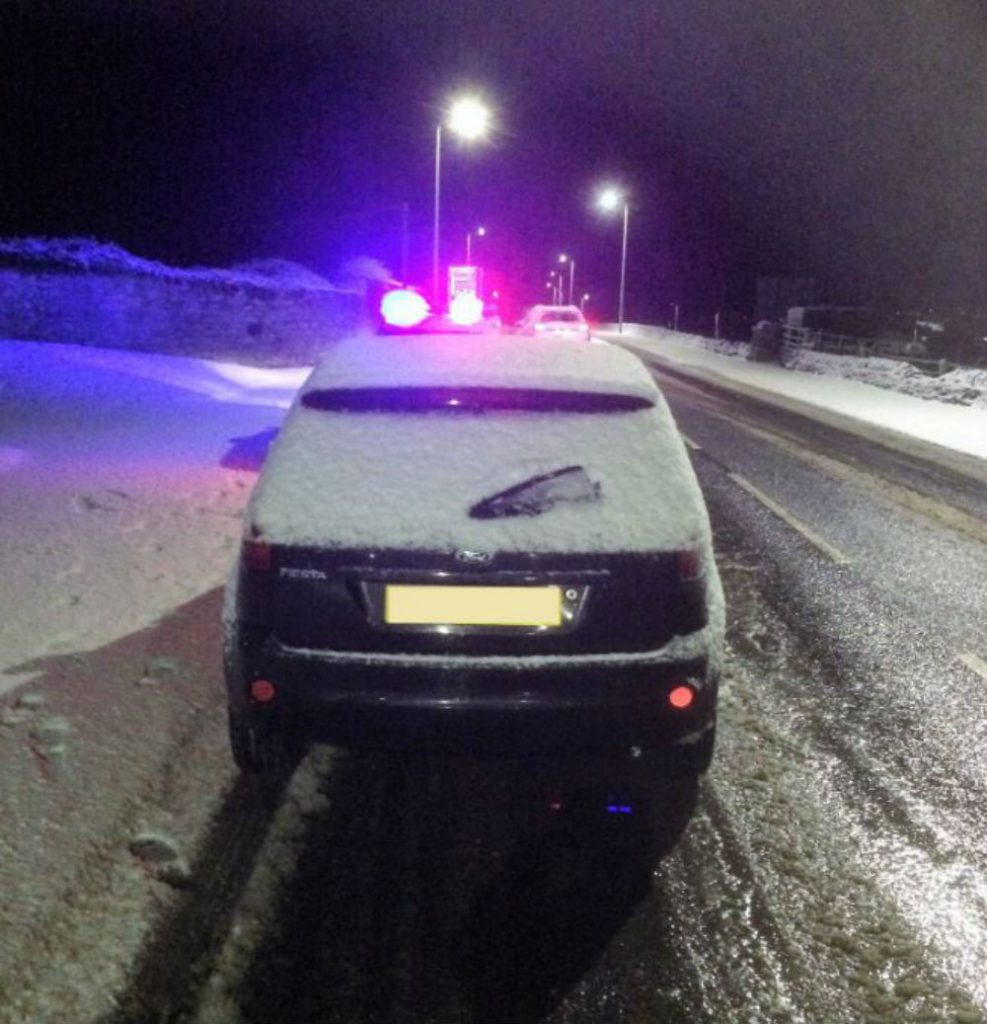 Thurso snow driver pulled over Police