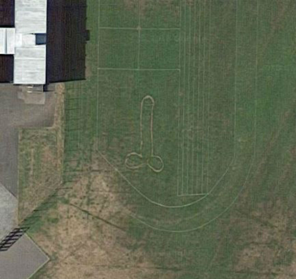 Drawing of penis on Aberdeenshire school field
