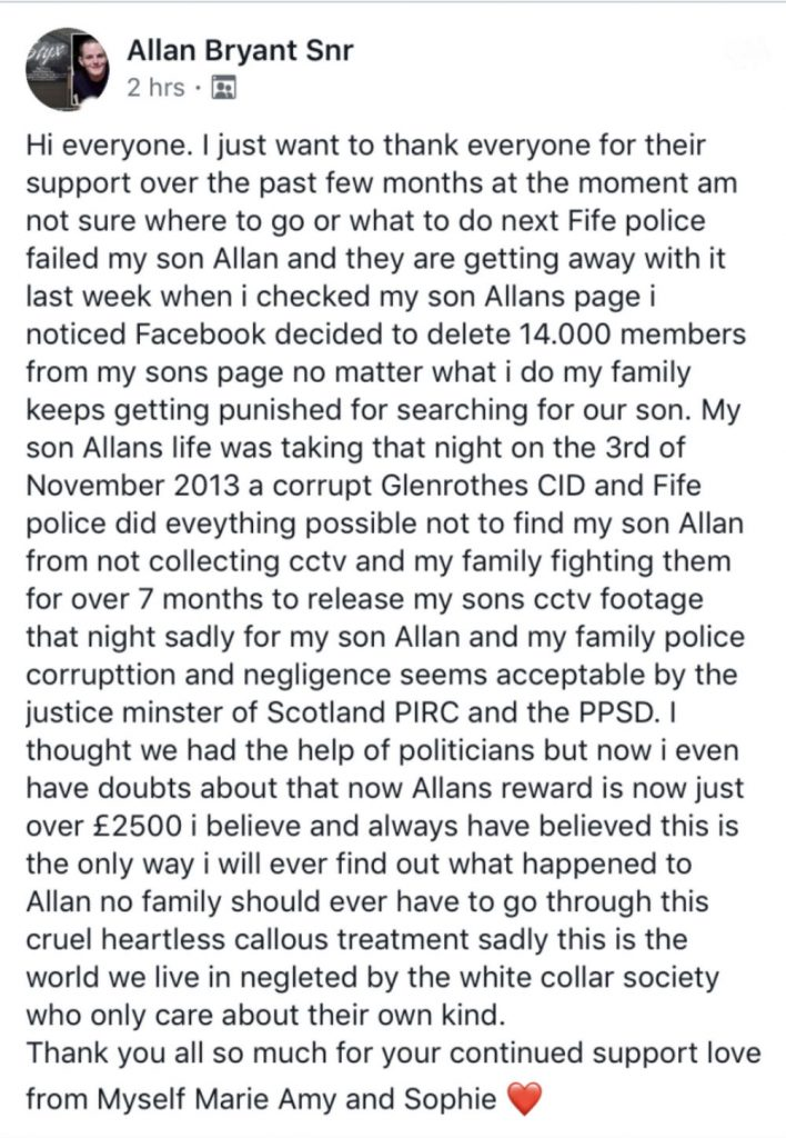 Allan Bryant Snr status about changes to the Facebook group