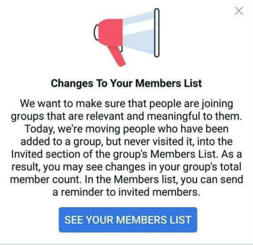 Changes to Facebook Members list