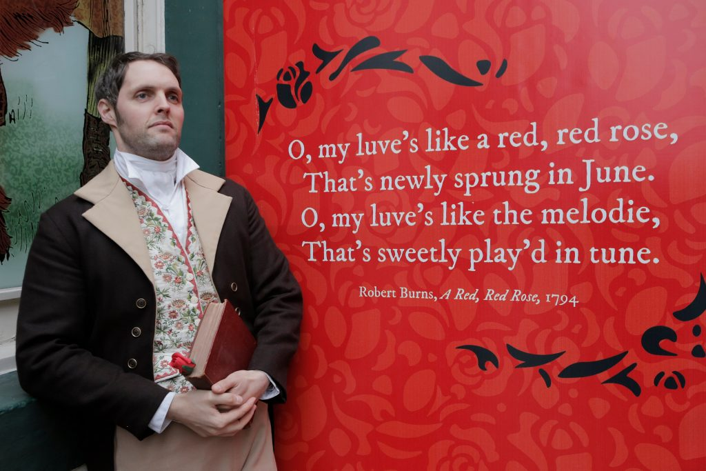 Actor playihg Rabbie Burns at the inaugural Burns & Beyond Festival Edinburgh, 2019