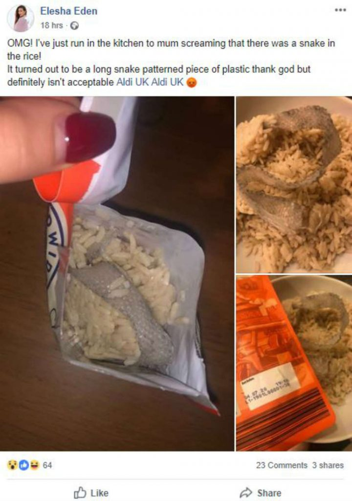 Aldi apologise after screaming mum opens bag of microwave rice and mistakes plastic for a snake