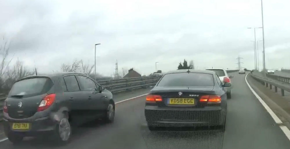 The BMW driver narrowly avoiding two collisions as a result of his recklessness
