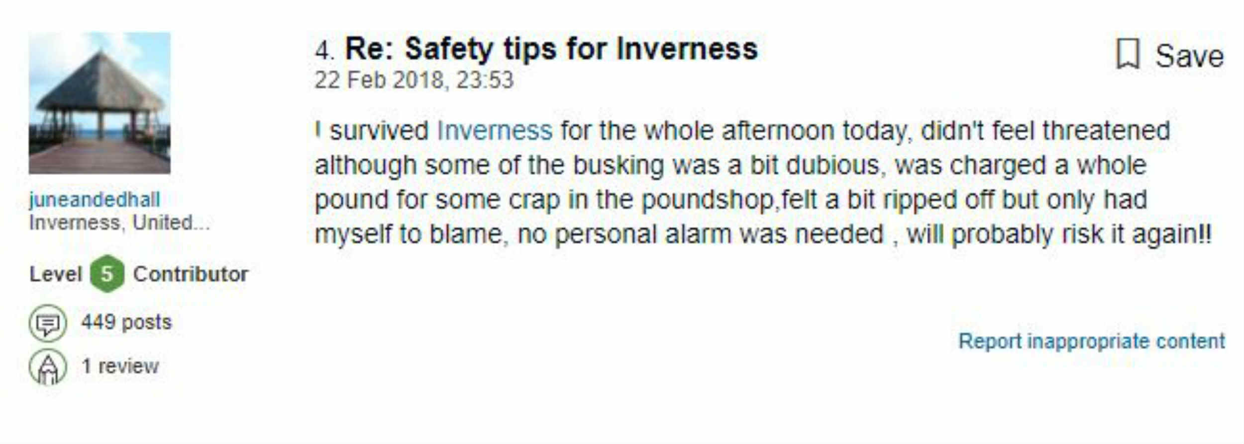 An Inverness local has taken to Trip Advisor to open a tirade against the city. Kat W posts a hilarious warning guide for tourists who may be thinking of visiting the Highland city.