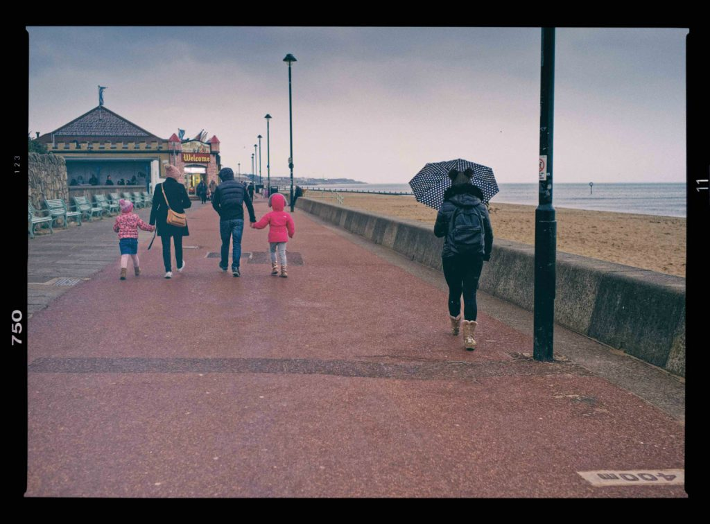 The image shows the promenade running by Portobello beach. The image was taken as part of A Taste of Photojournalism course by Luke McAdams.