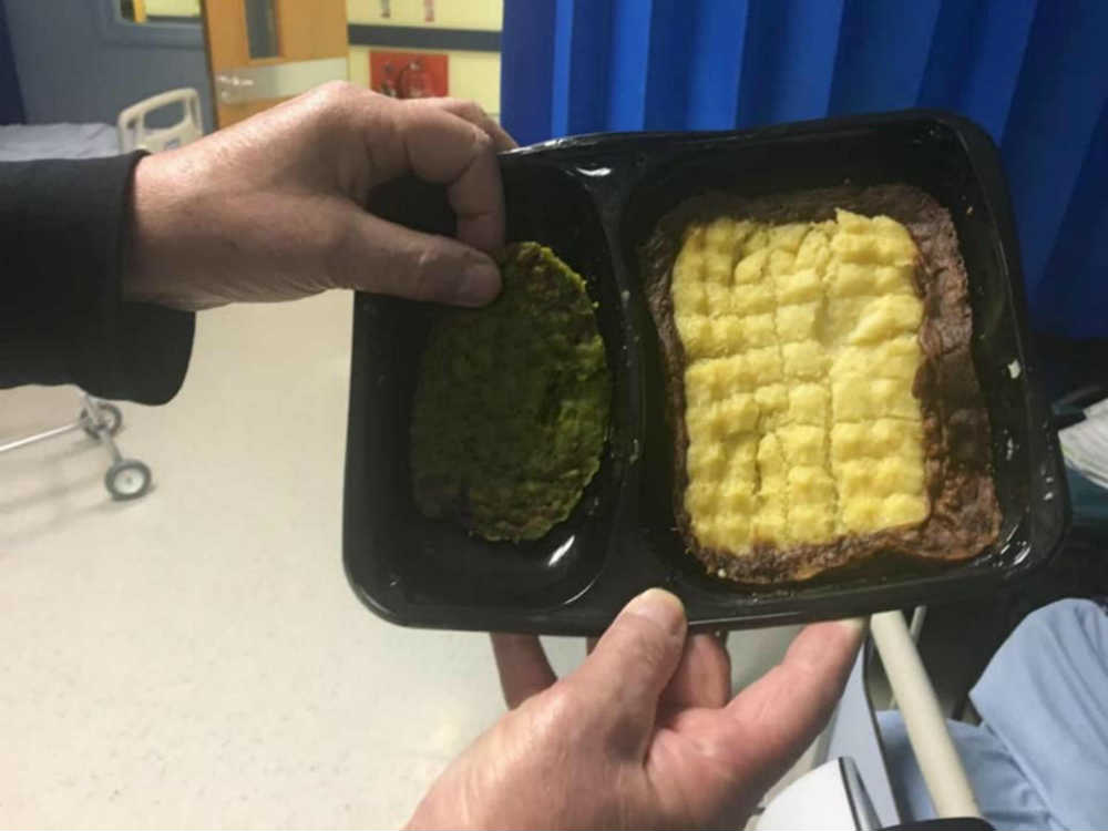 """Outraged nephew posts shocking pictures of """"f****** joke"""" food served to his uncle at hospital"""