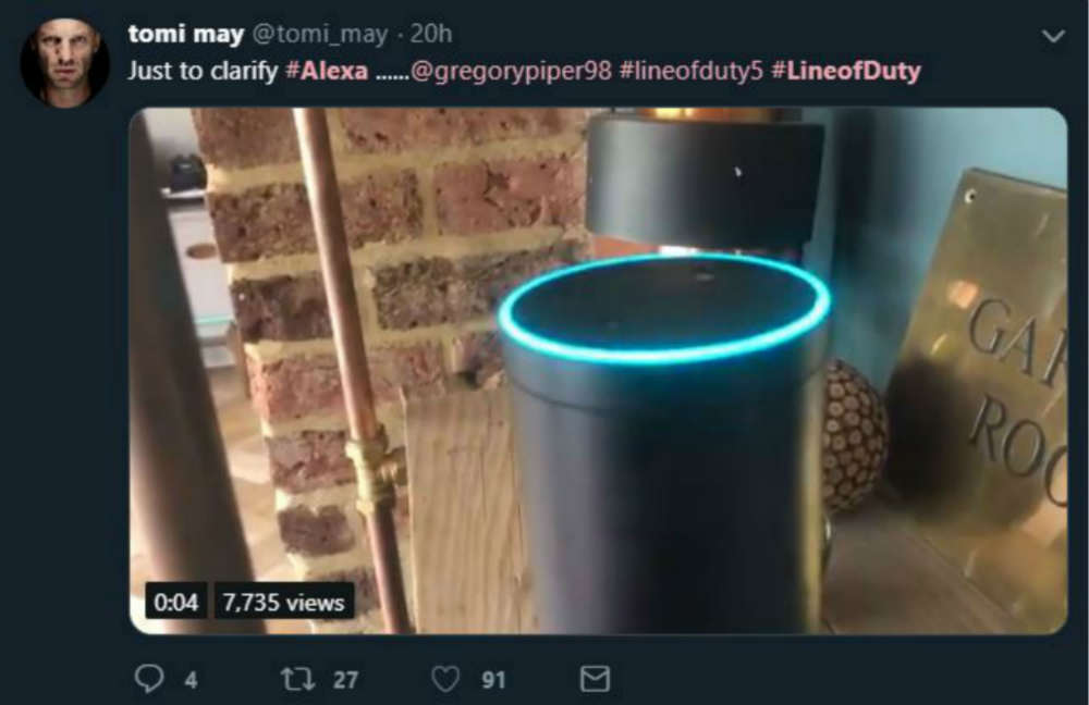 "Alexa pushed over the edge by Line of Duty fans demanding: ""Who is H?"""