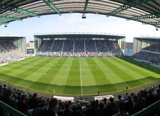 A packed Easter Road for a Premiership fixture   Hibs news