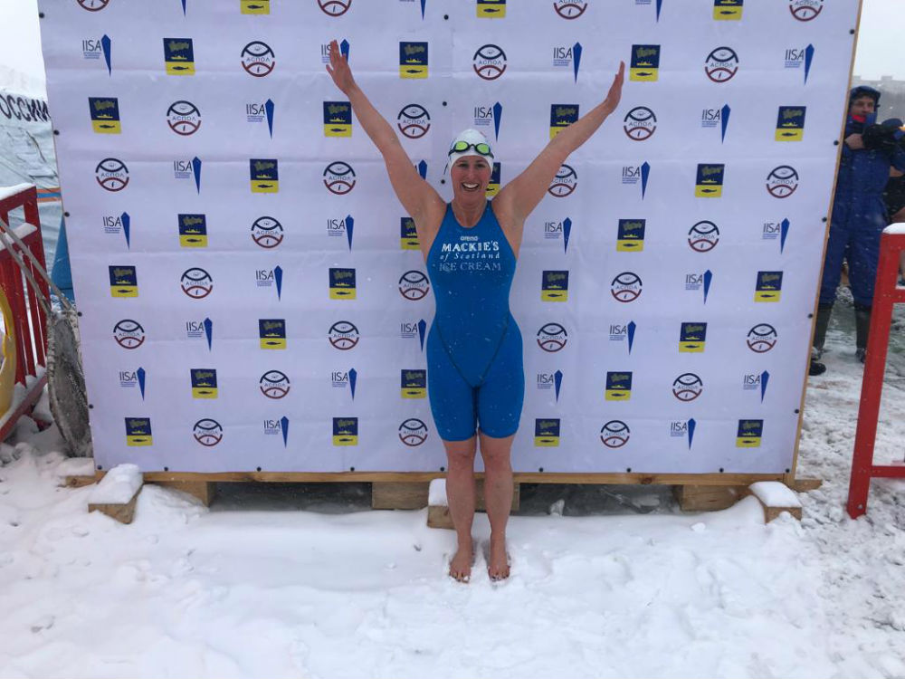 Jade Perry, gold award-winning ice swimmer in Russia was sponsored by Mackie's of Scotland