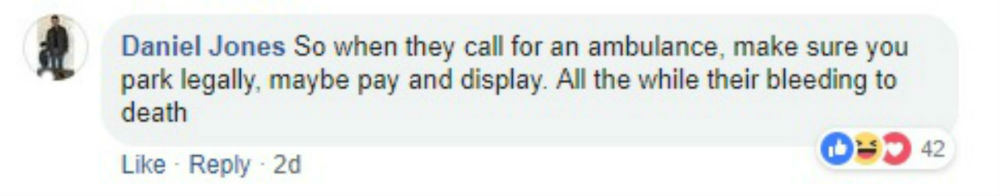 Social media users on Facebook hit out at the resident for the abusive note and said he was careless. Image shows a screenshot of a comment from Facebook.