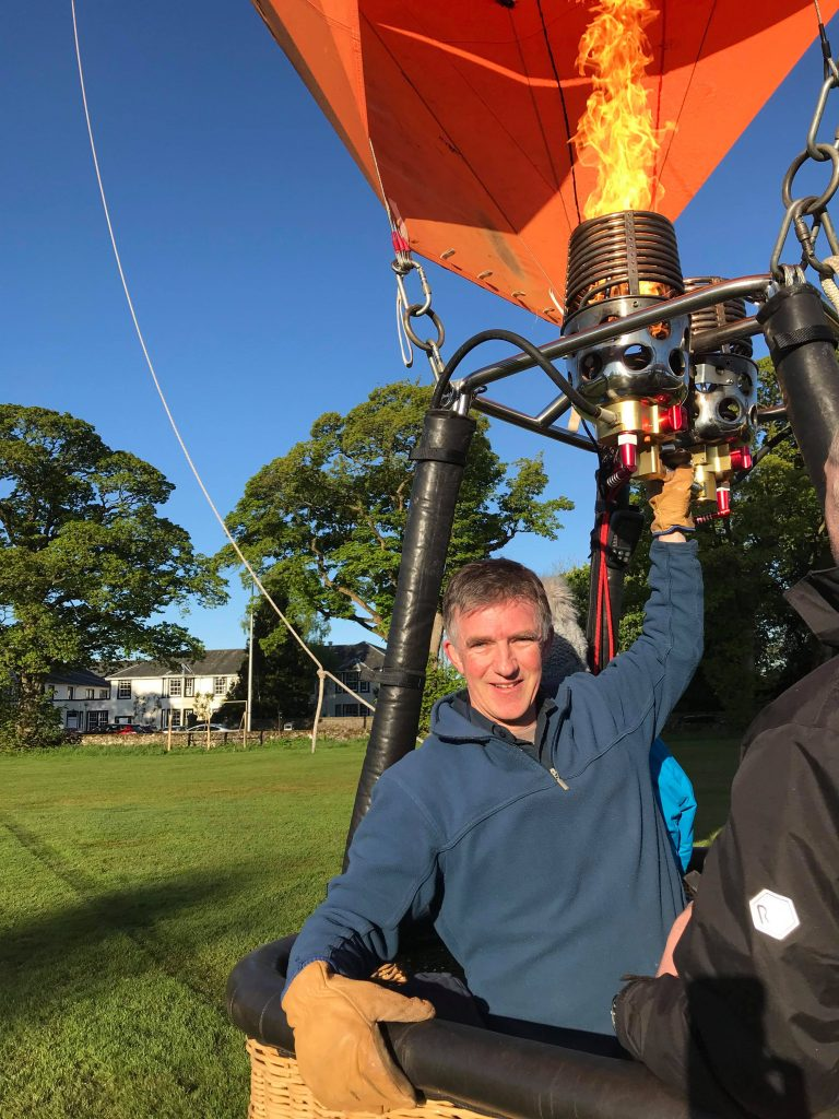 Pete Forster gearing up for another ride in his Hot Air Balloon