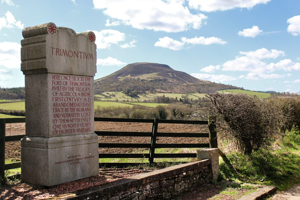Newstead fort and camps with comemoration stone and the Eildon HIll in Melrose