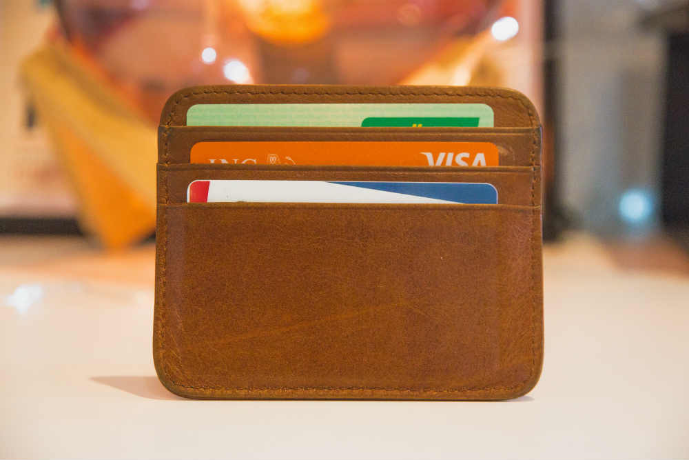 Wallet with visa cards inside