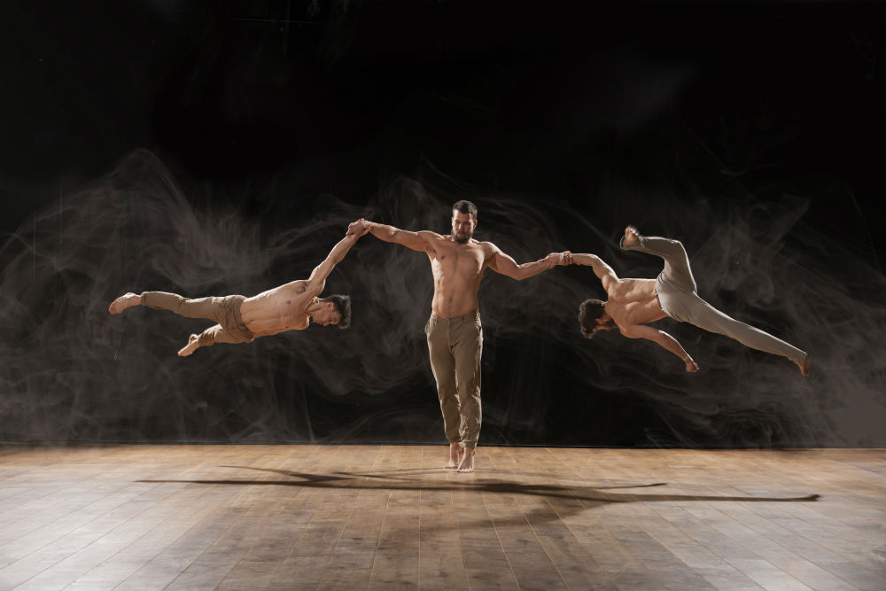 Picture of the circus troupe in action
