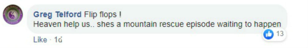 A Facebook post reads she is a mountain rescue episode waiting to happen