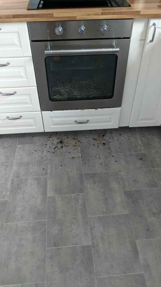 Shattered oven