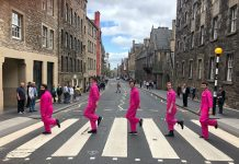 A Flamingo Called Frank doing an Abbey Road stylephoto shoot in Edinburgh
