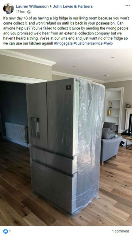 The facebook post of the fridge